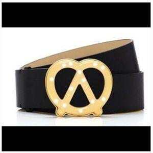 kate spade x darcel pretzel leather black belt M
